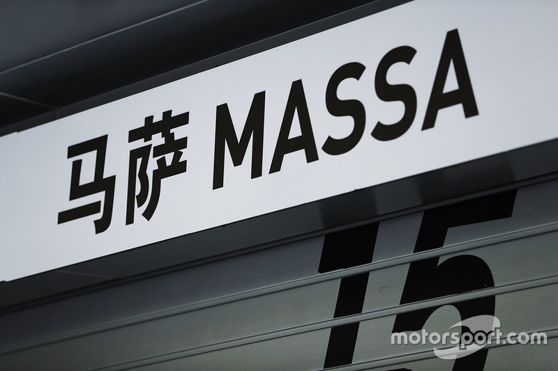 Signage above the pit garage of Felipe Massa, Williams