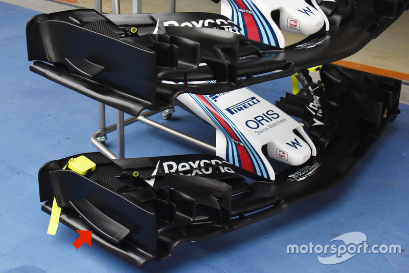 Williams FW 40, comparazione tra le ali anteriori portate in Cina