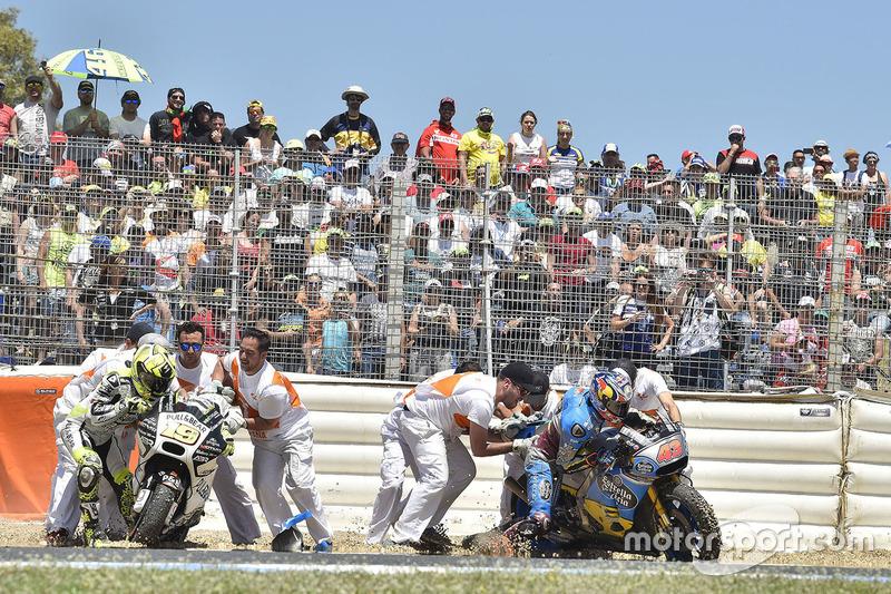 Crash: Alvaro Bautista, Aspar Racing Team; Jack Miller, Estrella Galicia 0,0 Marc VDS