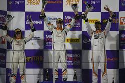 Podio Gara 1: la seconda classificata Alessandra Brena, Seat Motor Sport Italia; il vincitore della