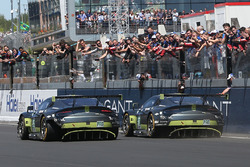 Checkered flag for #95 Aston Martin Racing Aston Martin Vantage: Nicki Thiim, Marco Sorensen, Richie Stanaway and #97 Aston Martin Racing Aston Martin Vantage: Darren Turner, Jonny Adam, Daniel Serra