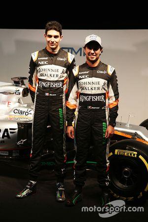 (L to R): Esteban Ocon, Sahara Force India F1 Team with team mate Sergio Perez, Sahara Force India F