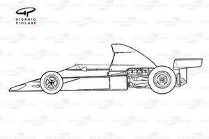 Vue latérale de la McLaren M23