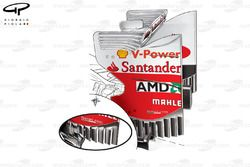 Ferrari F2012 rear wing strakes (see inset for older specification)