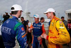 Scott Dixon, Chip Ganassi Racing Honda, Ryan Hunter-Reay, Andretti Autosport Honda, Alexander Rossi, Andretti Autosport Honda