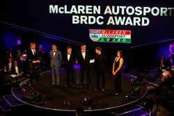 David Coulthard and Lee McKenzie flank Enaam Ahmed, Max Fewtrell, Harrison Scott and Daniel Ticktum