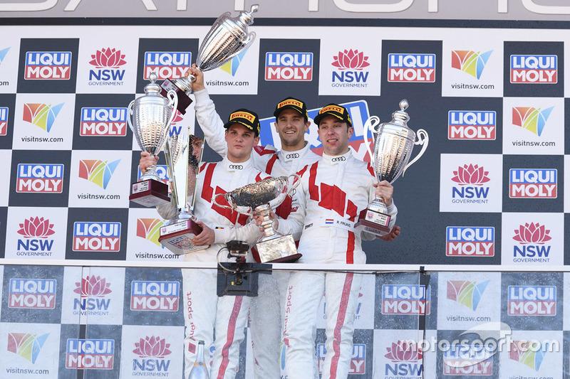 Podium: race winners Robin Frijns, Stuart Leonard, Dries Vanthoor, Audi Sport Team WRT