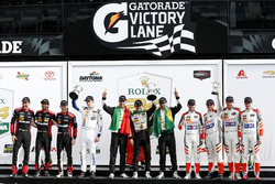 Victory lane, P: Winners #5 Action Express Racing Cadillac DPi: Joao Barbosa, Filipe Albuquerque, Christian Fittipaldi, second place #31 Action Express Racing Cadillac DPi: Felipe Nasr, Eric Curran, Mike Conway, Stuart Middleton, third place #54 CORE autosport ORECA LMP2: Jon Bennett, Colin Braun, Romain Dumas, Loic Duval