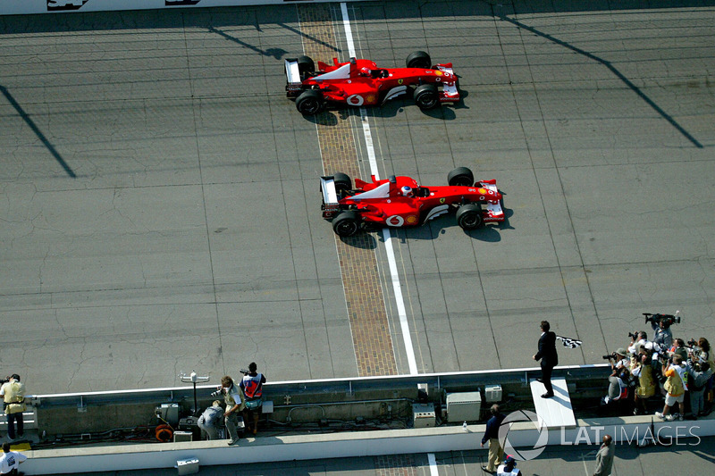 2. 2002 United States GP - Rubens Barrichello vs Michael Schumacher (0.011 seconds)