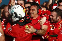 Sebastian Vettel, Ferrari, 1st position. celebrates with his team on arrival in Parc Ferme