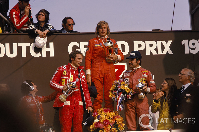 James Hunt, Hesketh, 1st position, Niki Lauda, Ferrari, 2nd position and Clay Regazzoni, Ferrari, 3r