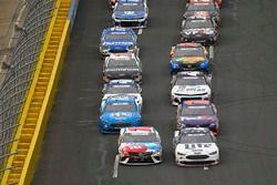 Kyle Busch, Joe Gibbs Racing, Toyota Camry M&M's Red White & Blue and Brad Keselowski, Team Penske, Ford Fusion Stars, Stripes, and Lites