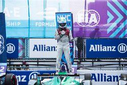 Lucas di Grassi, Audi Sport ABT Schaeffler, celebrates in Parc Ferme after winning the race