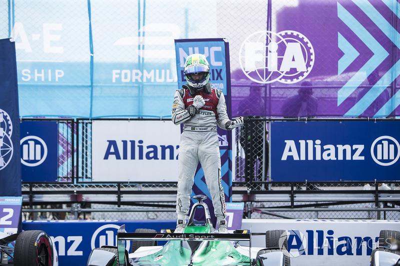 Lucas di Grassi, Audi Sport ABT Schaeffler, celebrates in Parc Ferme after winning the race