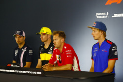 Sergio Perez, Force India, Nico Hulkenberg, Renault Sport F1 Team, Sebastian Vettel, Ferrari, and Brendon Hartley, Toro Rosso, in the Thursday press conference