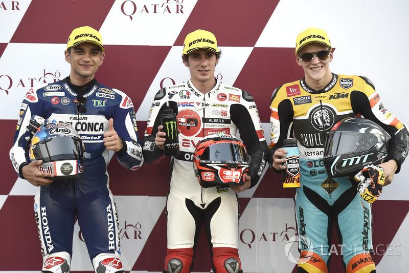 Los 3 mejores después de la calificación: Jorge Martin, Del Conca Gresini Racing Moto3, Niccolo Anto