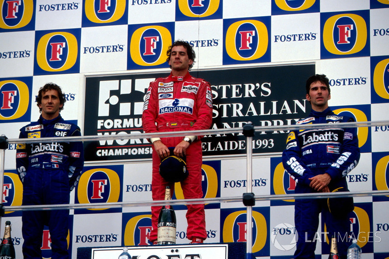 Podium: 1. Ayrton Senna, McLaren; 2. Alain Prost, Williams; 3. Damon Hill, Williams