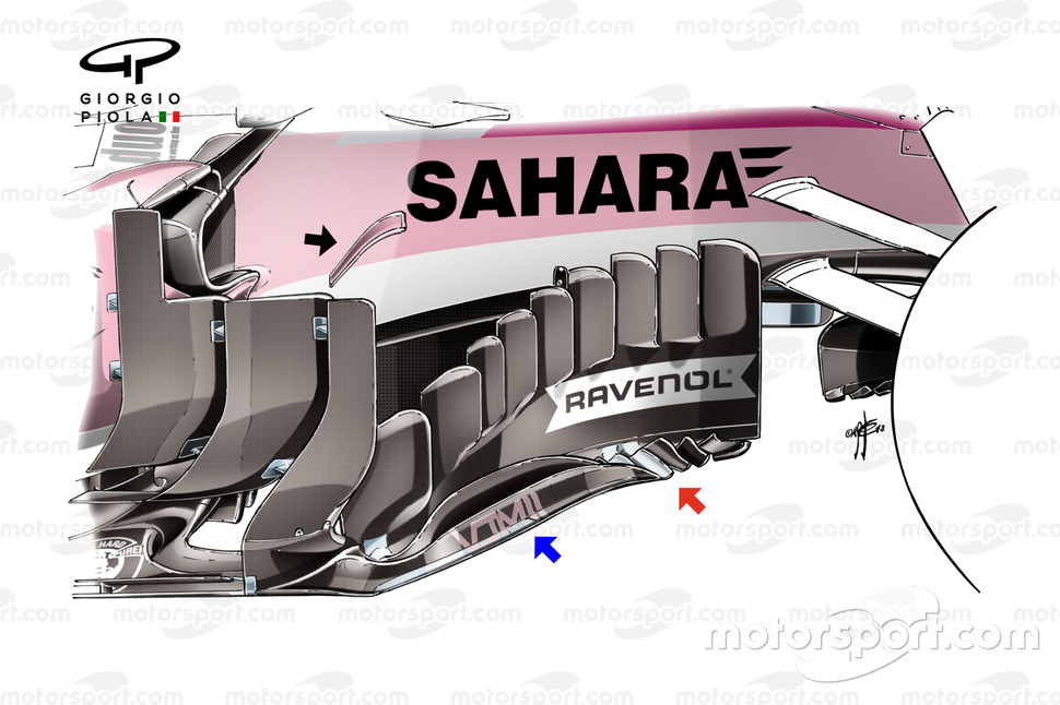 Force India VJM11 barge board British GP