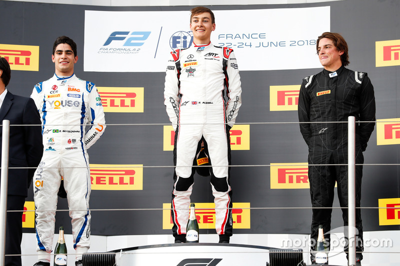 Podio: Sergio Sette Camara, Carlin, George Russell, ART Grand Prix, Roberto Merhi, MP Motorsport