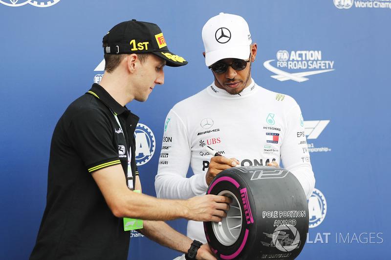 El ciclista profesional Simon Yates con Lewis Hamilton, Mercedes AMG F1, tras la clasificación