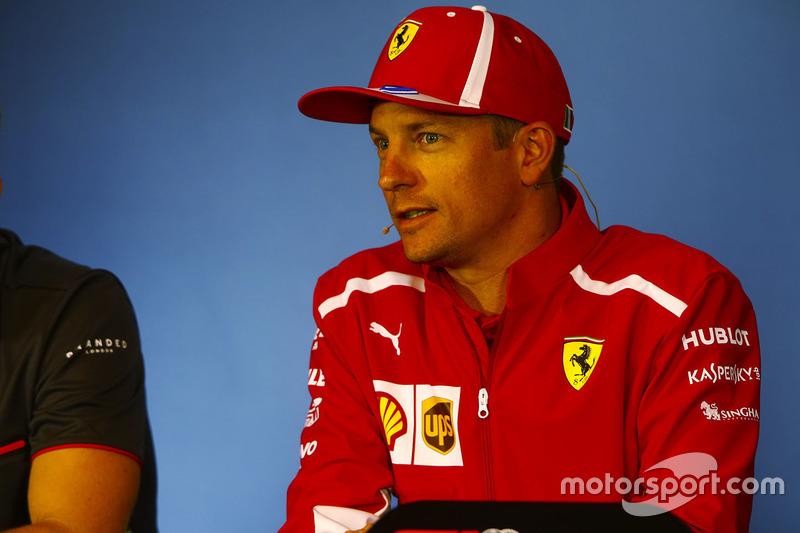 Kimi Raikkonen, Ferrari, in the Thursday press conference