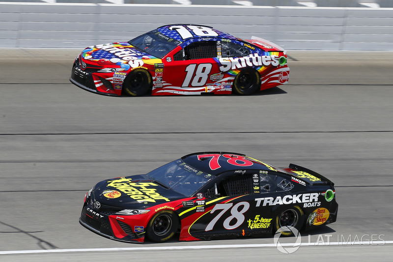 Martin Truex Jr., Furniture Row Racing, Toyota Camry 5-hour ENERGY/Bass Pro Shops and Kyle Busch, Joe Gibbs Racing, Toyota Camry Skittles Red White & Blue