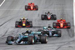 Valtteri Bottas, Mercedes AMG F1 W09, Lewis Hamilton, Mercedes AMG F1 W09, Max Verstappen, Red Bull Racing RB14, Kimi Raikkonen, Ferrari SF71H, Romain Grosjean, Haas F1 Team VF-18, Sebastian Vettel, Ferrari SF71H