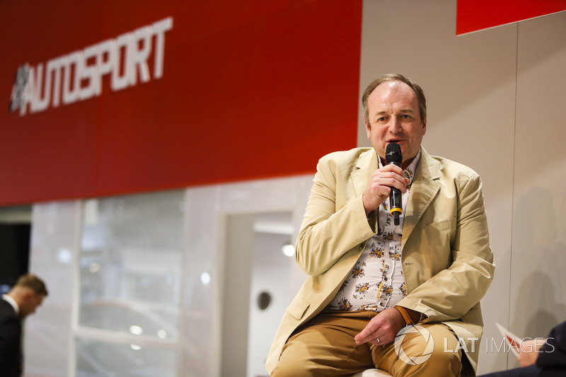 Bruce Wood of Cosworth talks to Henry-Hope Frost on the Autosport stage