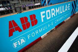 ABB FIA Formula E Championship logos in the pit lane