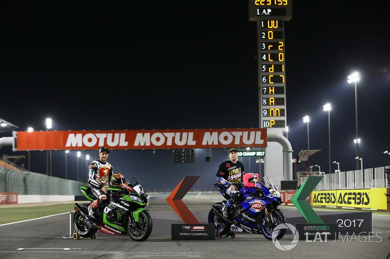 WSBK Şampiyonu Jonathan Rea, Kawasaki Racing, WSSP Şampiyonu Lucas Mahias, GRT Yamaha Official WorldSSP Team