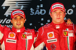 Podium: race winner Felipe Massa, Ferrari and third place Kimi Raikkonen, Ferrari