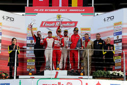 Podium: Race winner #11 Formula Racing Ferrari 488: Nicklas Nielsen, second place #8 Octane 126 Ferr