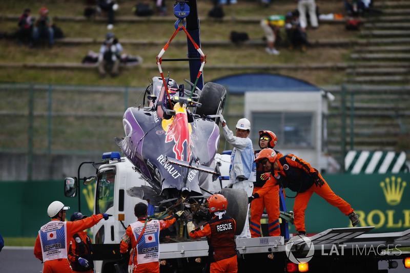Болид Квята эвакуируют после аварии в квалификации