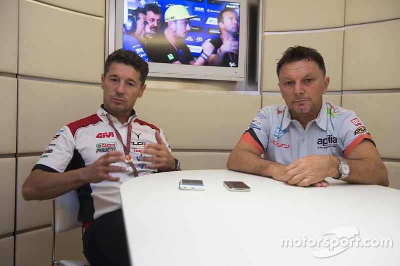Lucio Cecchinello, Team LCR Honda director del equipo y Fausto Gresini, Aprilia Gresini Racing Team