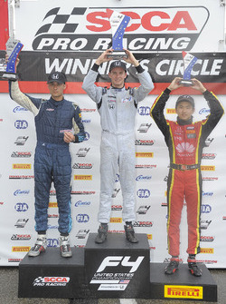 Podium: race winner Kyle Kirkwood, second place Skylar Robinson, third place Jackie Ding