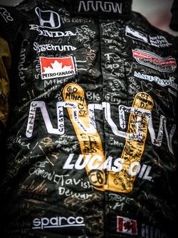 Signatures on the suit of James Hinchcliffe, Schmidt Peterson Motorsports Honda