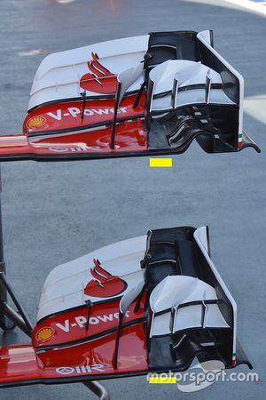 Comparaison des ailerons avant de la Ferrari SF16-H