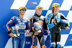 Secondo Enea Bastianini, Gresini Racing Team Moto3, polesitter Brad Binder, Red Bull KTM Ajo, terzo