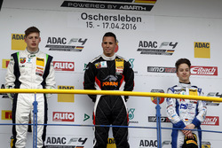 Podium: second place Kim-Luis Schramm, US Racing; winner Joseph Mawson, Van Amersfoort Racing; third place Mike David Ortmann, Mücke Motorsport