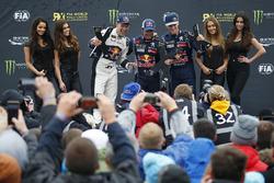 Podium: Sieger Sébastien Loeb, Team Peugeot Hansen; 2. Mattias Ekström, EKS RX; 3. Timmy Hansen, Tea