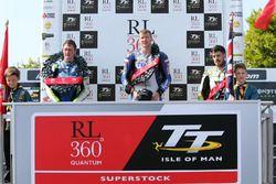 Podium: winner Ian Hutchinson, second place Dean Harrison, third place James Hillier