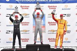 Podium: race winner Will Power, Team Penske Chevrolet, second place Simon Pagenaud, Team Penske Chev