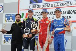 Podium: race winner Leonardo Pulcini, Campos Racing, second place Ferdinand Habsburg, Drivex School, third place Nikita Troitskiy, Drivex School