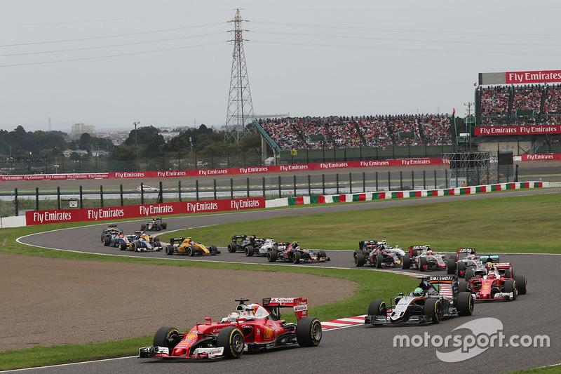 Sebastian Vettel, Ferrari SF16-H alla partenza della gara