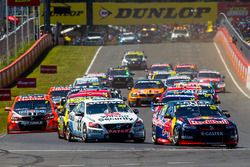 Jamie Whincup , Paul Dumbrell, Triple Eight Race Engineering Holden leads at the start of the race