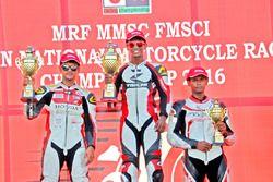 Podium Race 2: Race winner Kannan; second place Harry Sylvester; third place K Jagan