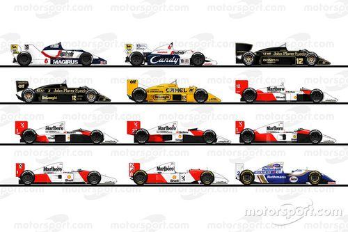 The F1 cars of Ayrton Senna's race career