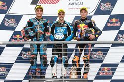 Podium: Race winner Romano Fenati, SKY Racing Team VR46, KTM; second place Jorge Navarro, Estrella Galicia 0,0, Honda; third place Brad Binder, Red Bull KTM Ajo, KTM