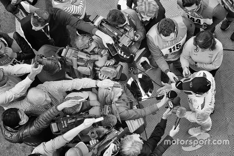 Lewis Hamilton, Mercedes AMG F1 with the media