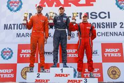Race 3 podium: winner Vikash Anand. second place Raghul Rangasamy, third place Goutham Parekh